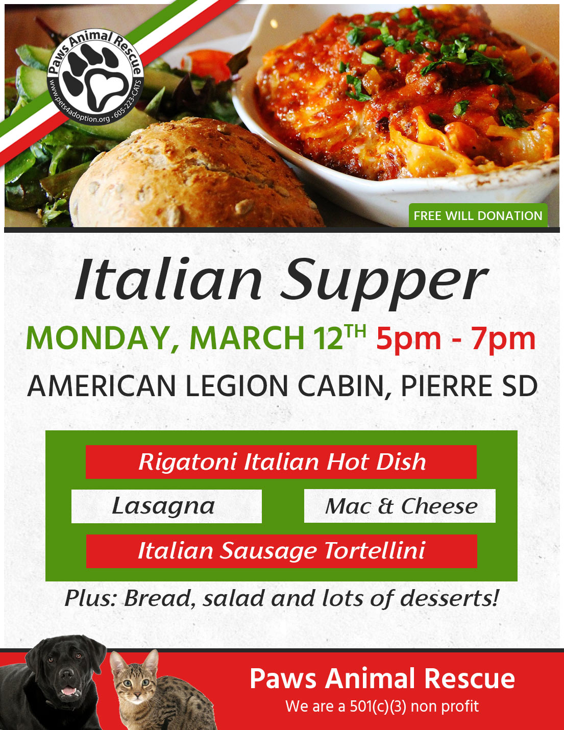 Paws Animal Rescue Italian Supper